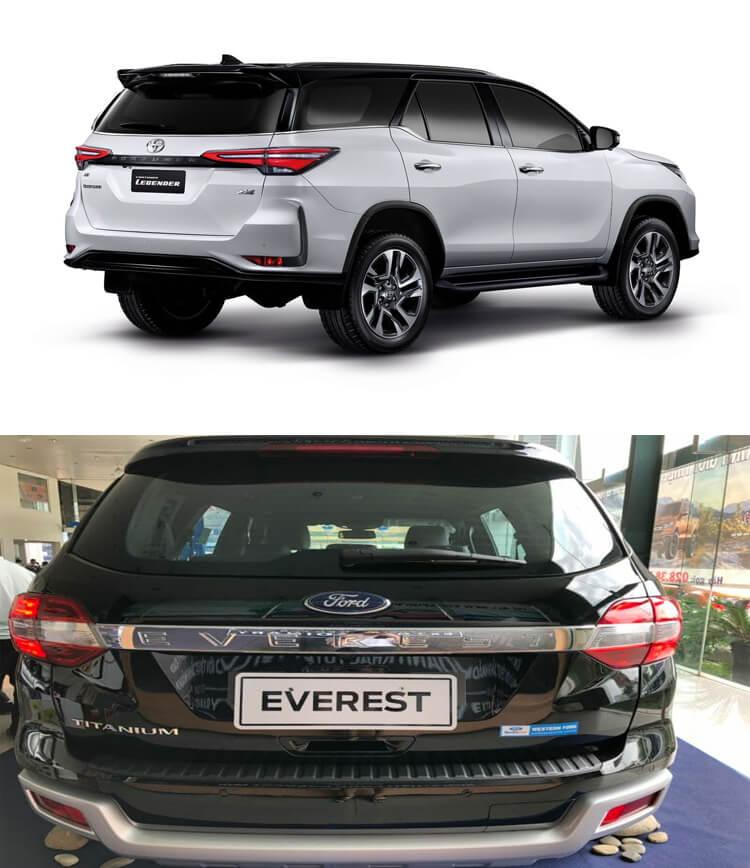 So sánh Fortuner và Everest về thiết kế đuôi xe