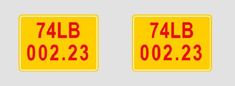 Xe biển số nền vàng chữ đỏ cấp cho xe của khu kinh tế - thương mại hoặc khu kinh tế cửa khẩu quốc tế.