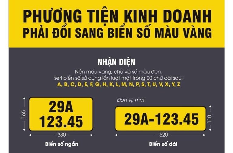 Xe ô tô hoạt động kinh doanh phải làm thủ tục đổi biển số vàng