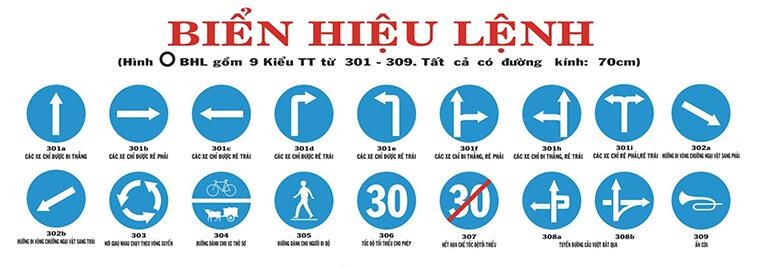 Các loại biển báo hiệu lệnh giao thông đường bộ