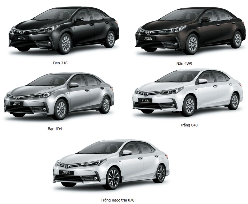 Màu xe Toyota Corolla Altis 2021